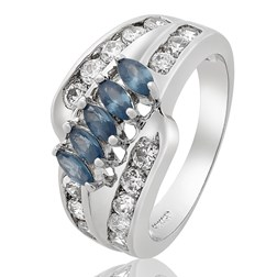 Marquise Gemstone Cocktail Ring in White Gold Plated