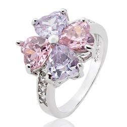 Heart Gemstone Cocktail Ring in White Gold Plated