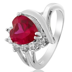 Heart Gemstone Solitaire with Accents Ring in White Gold Plated