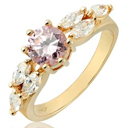 Round Gemstone Solitaire with Accents Ring in Gold Plated