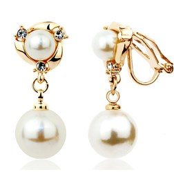 Clip On Chic Pearl & Crystal Dangle Drop Earrings in Gold Plated