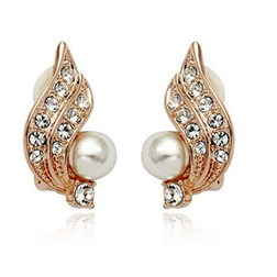 Clip On Pearl & Crystal Angel Wing Earrings in Gold Plated