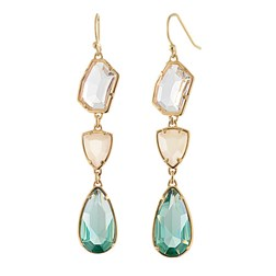 Artisan Green Simulated Gems Resin Earrings in Gold Plated