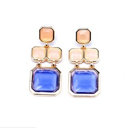 Artisan Blue Simulated Gems Resin Earrings in Gold Plated
