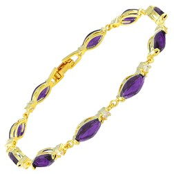 Marquise Gemstones Tennis Bracelets in Gold Plated
