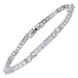 Round Gemstones Tennis Bracelets in White Gold Plated