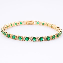 Round Gemstones Tennis Bracelets in Gold Plated