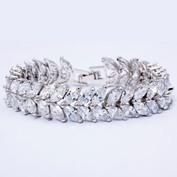 Celebrity Jewelry Style Wedding Prom White Topaz Tennis Bracelet