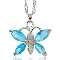 Marquise Gemstone Butterfly Pendant with Chain/Necklace in White