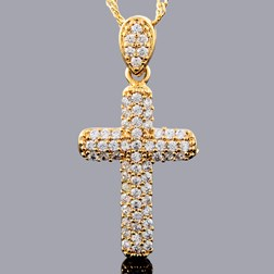 Clutter Gems Cross Pendant with Chain/Necklace in Gold Plated
