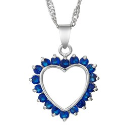 Round Gemstone Heart Pendant with Chain/Necklace in White Gold Pl