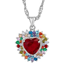 Heart Gemstone Heart Pendant with Chain/Necklace in White Gold Pl