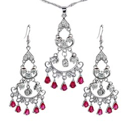 Pear Gemstones Fashion Jewelry Set in White Gold Plated