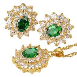 Oval Gemstones Fashion Jewelry Set in Gold plated