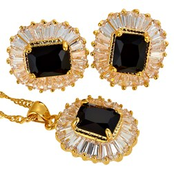 Emerald Gemstones Fashion Jewelry Set in Gold plated