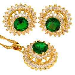 Round Gemstones Fashion Jewelry Set in Gold plated