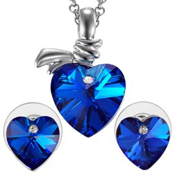 Heart Gemstones Fashion Jewelry Set in White Gold Plated