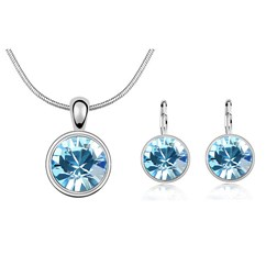 Round Gemstones Fashion Jewelry Set in White Gold Plated