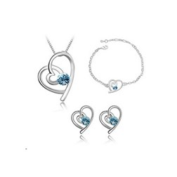 Heart Austria Crystal Jewelry Set in White Gold Plated
