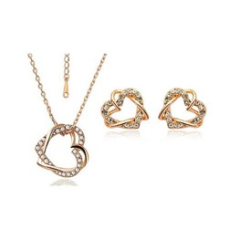 Austria Crystal Jewelry Set in White and Gold Plated