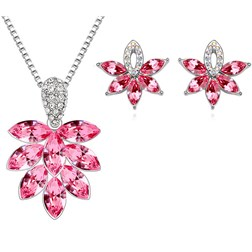 Austria Crystal Flower Jewelry Set in White Gold Plated
