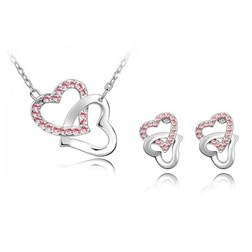Austria Crystal Heart Jewelry Set in White Gold Plated