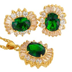 Oval Gemstones Wedding Jewelry Set in Gold plated