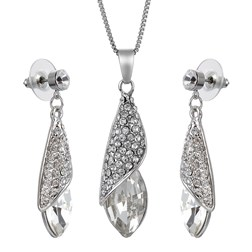 Marquise Gemstones Wedding Jewelry Set in White Gold Plated