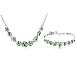 Heart Gemstones Wedding Jewelry Set in White Gold Plated
