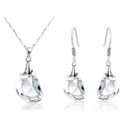Pear Gemstones Wedding Jewelry Set in White Gold Plated
