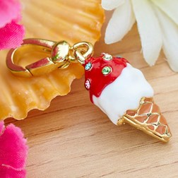Red Ice-Cream Shape Gold Plated Keychain Key Chain Gadget