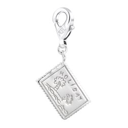 Postcard Shape White Gold Plated Plain Color Charms