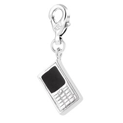 Cell Phone Shape White Gold Plated Plain Color Charms