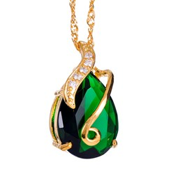 Pear Gemstone Pendant with Chain/Necklace in Gold Plated