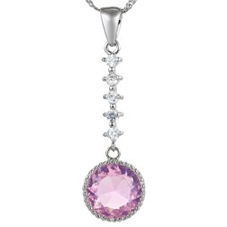 Round Gemstone Pendant with Chain/Necklace in White Gold Plated