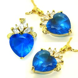 Heart Gemstone Pendant with Chain/Necklace in Gold Plated