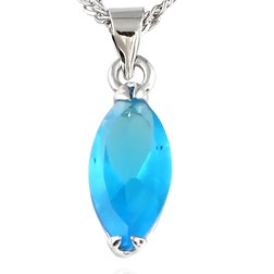 Marquise Gemstone Pendant with Chain/Necklace in White Gold Plate