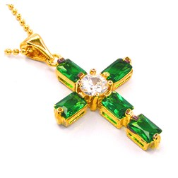 Emerald Gemstone Pendant with Chain/Necklace in Gold Plated