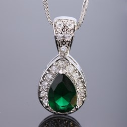 Pear Gemstone Pendant with Chain/Necklace in White Gold Plated