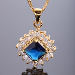Princess Gemstone Pendant with Chain/Necklace in Gold Plated