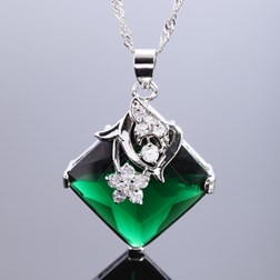 Asscher Gemstone Pendant with Chain/Necklace in White Gold Plated