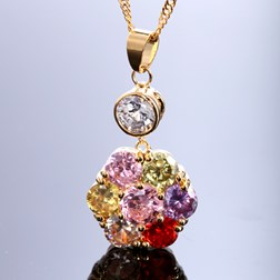 Round  Gemstone Pendant with Chain/Necklace in Gold Plated