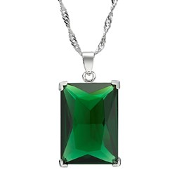 Rectangular Gemstone Pendant with Chain/Necklace in White Gold Pl