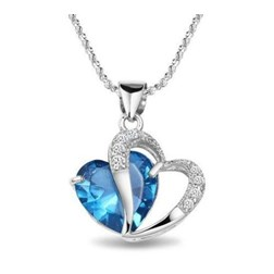 Heart Gemstone Pendant with Chain/Necklace in White Gold Plated