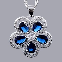 Pear Gems Flower Pendants w/chain in white gold plated